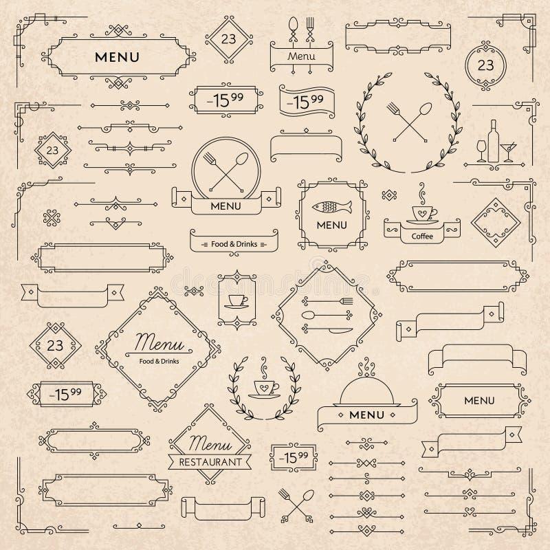 Menu elements. Set of classic retro design elements for menu decoration