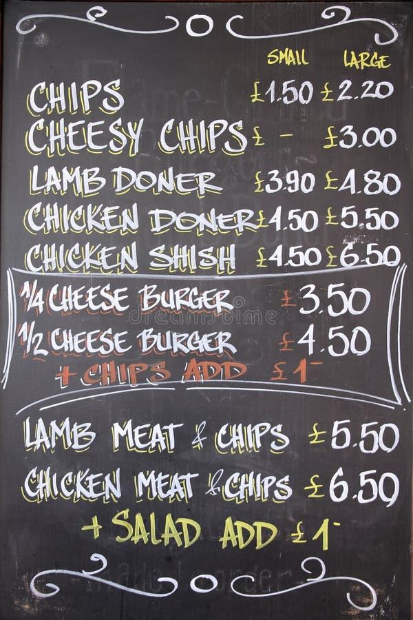 Menu em Londres fotografia de stock