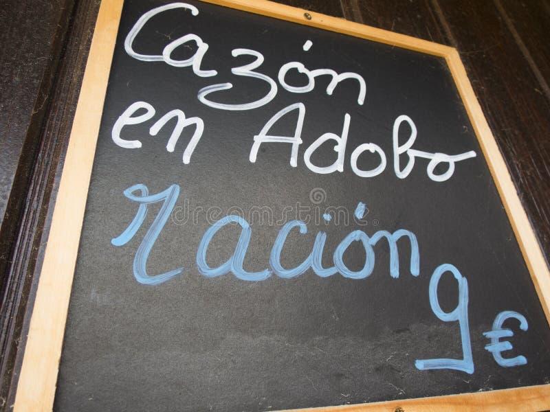 Menu espagnol de marinade de chiens de mer image libre de droits