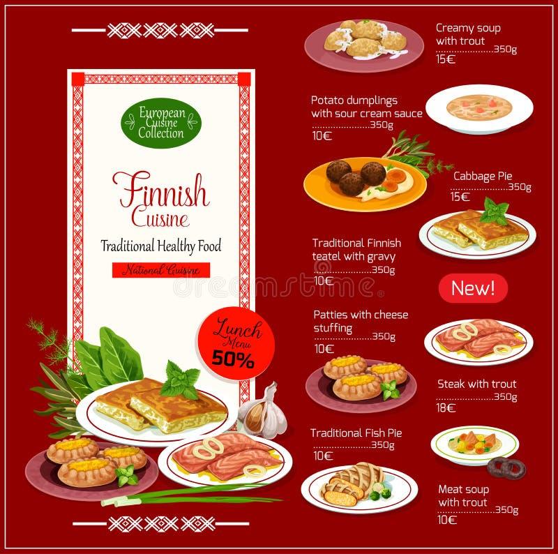 Menu finlandais national de cuisine avec la nourriture saine illustration stock