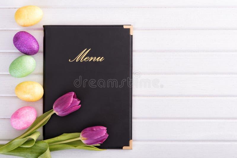 Menu, flores e ovos foto de stock royalty free