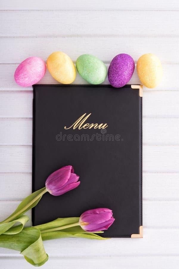 Menu, flores e ovos imagens de stock royalty free
