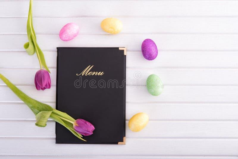 Menu, flores e ovos imagens de stock