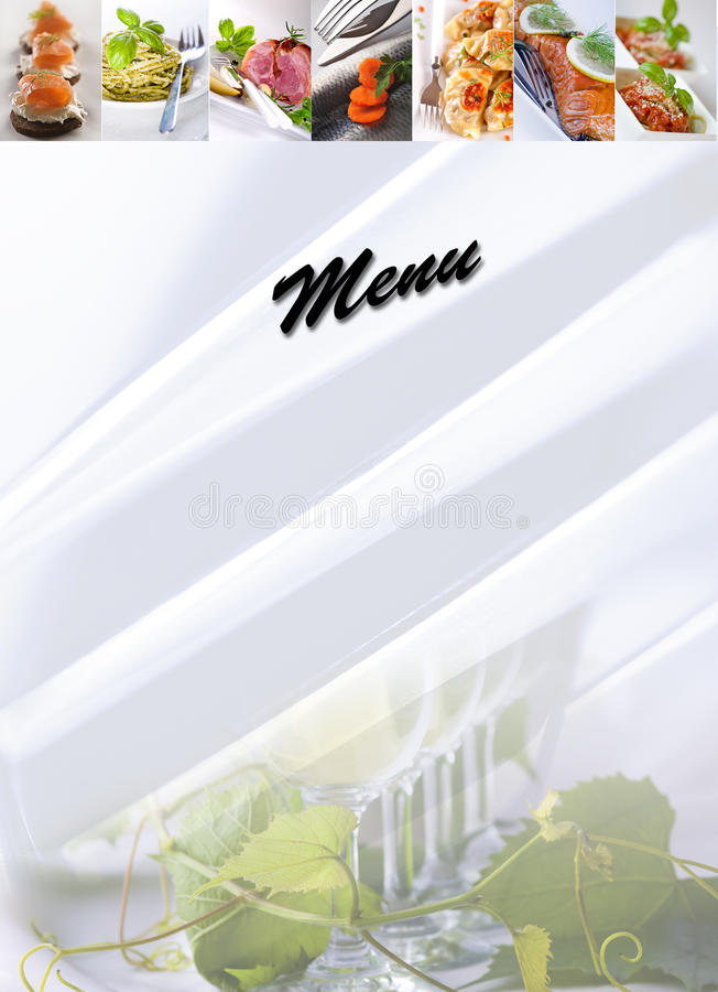 Menu - food collage. Menu cover design - food collage royalty free stock image