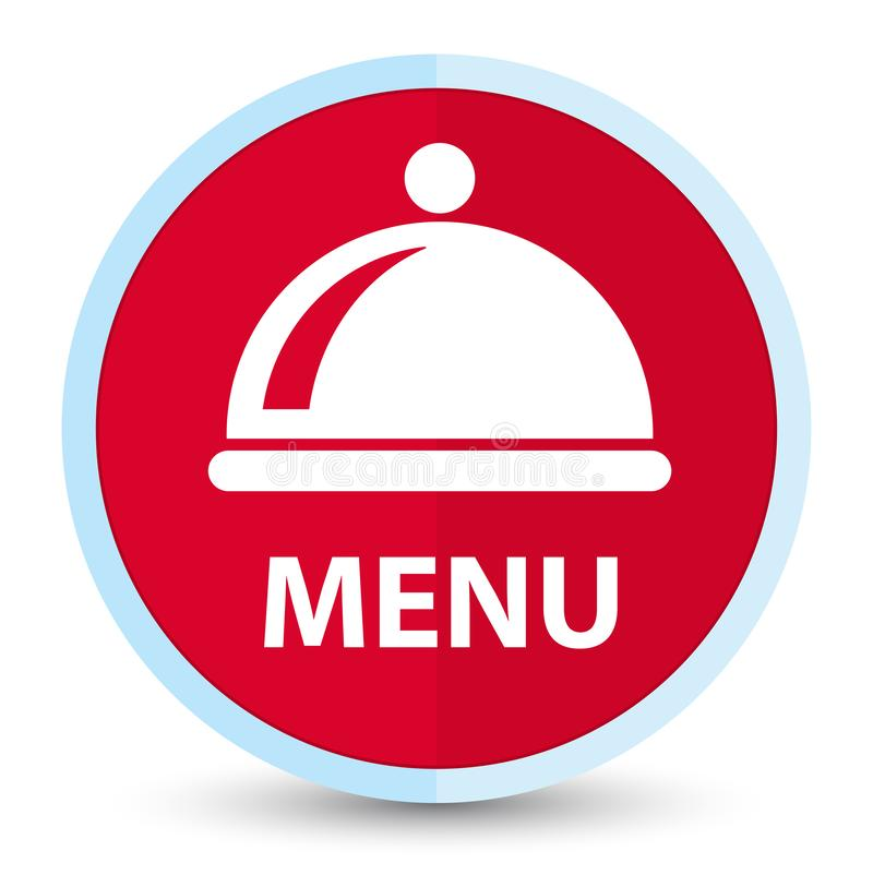 Menu (food dish icon) flat prime red round button. Menu (food dish icon) isolated on flat prime red round button abstract illustration royalty free illustration