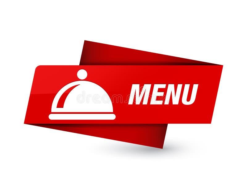 Menu (food dish icon) premium red tag sign. Menu (food dish icon) isolated on premium red tag sign abstract illustration vector illustration