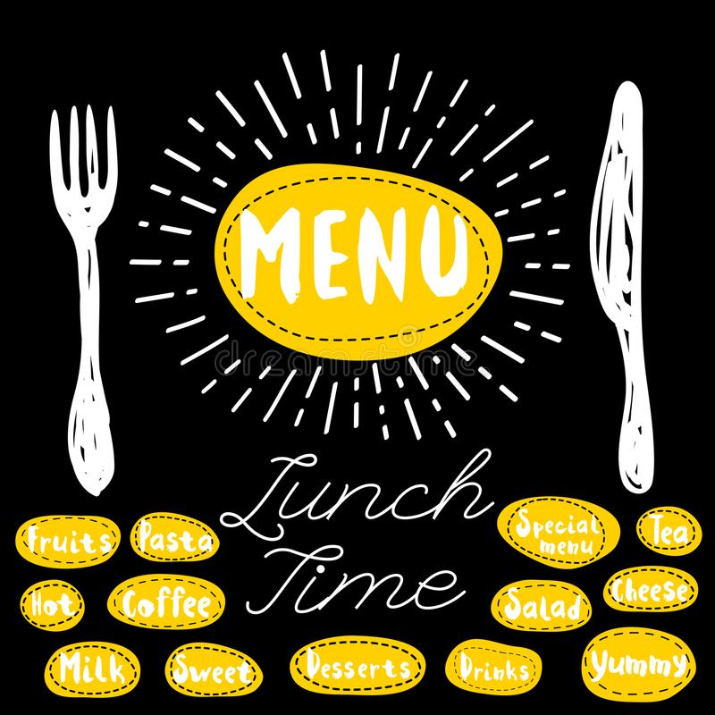 Menu, lunch time. Menu fork knife lunch time. Lettering calligraphy sketch style light rays heart pasta, vegan, tea, coffee, deserts, yummy, milk, salad. Hand stock illustration