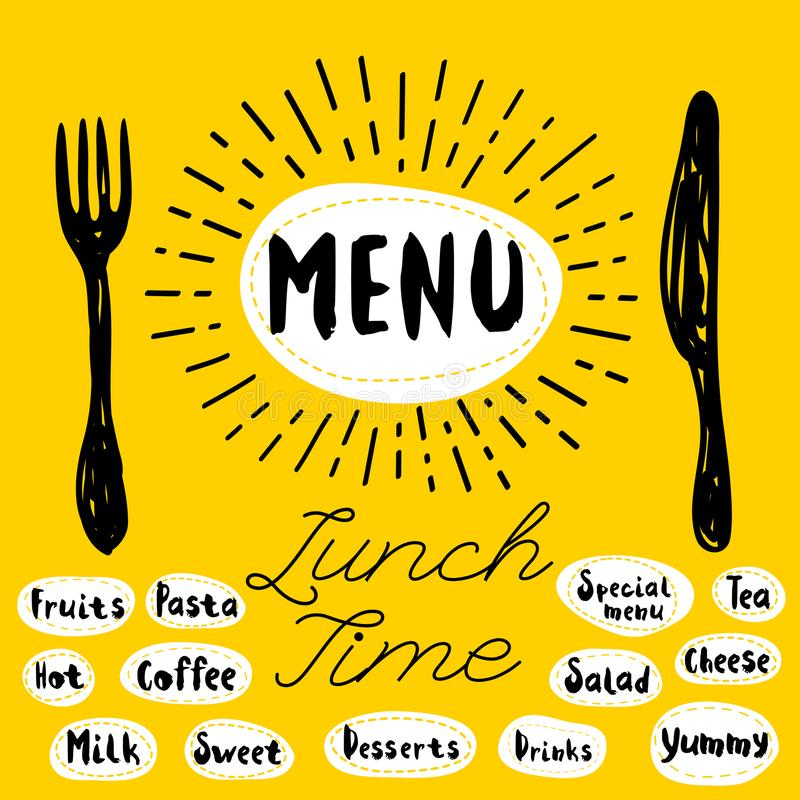 Menu, lunch time. Menu fork knife lunch time. Lettering calligraphy, sketch style, light rays, heart, pasta vegan tea coffee deserts, yummy, milk, salad. Hand vector illustration