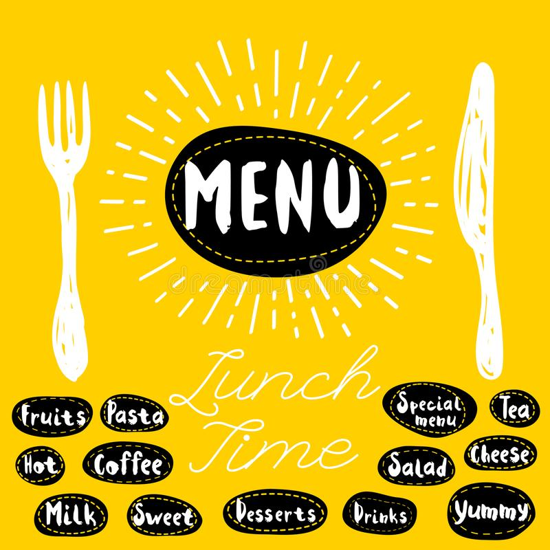 Menu, lunch time. Menu fork knife lunch time. Lettering calligraphy, sketch style, light rays, heart, pasta vegan tea coffee deserts yummy, milk, salad. Hand vector illustration