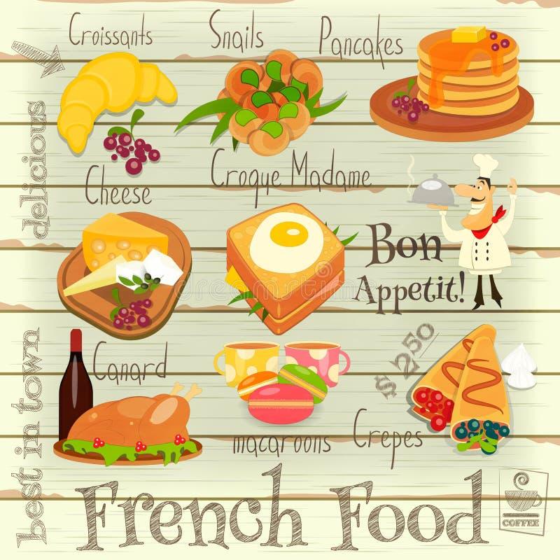 Menu français de nourriture illustration de vecteur