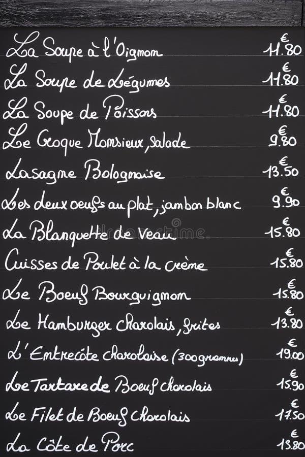 menu francese sulla lavagna immagine stock immagine di