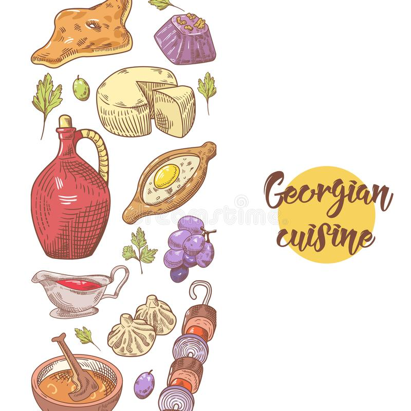 Menu georgiano disegnato a mano dell'alimento Georgia Traditional Cuisine con lo gnocco royalty illustrazione gratis