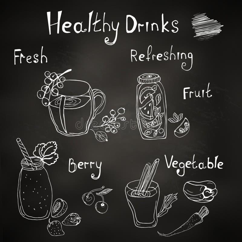 Menu, gezonde dranken en smoothies, krijt op de raad stock illustratie