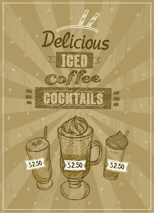 Menu glacé de cocktails de café illustration stock