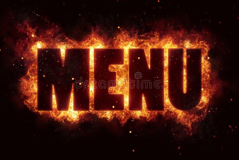 Menu grilla przyjęcia restauracyjny gorący tekst na ogieniu płonie wybuch royalty ilustracja