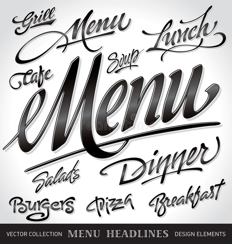 Free Menu Headlines Set (vector) Stock Images - 19862054