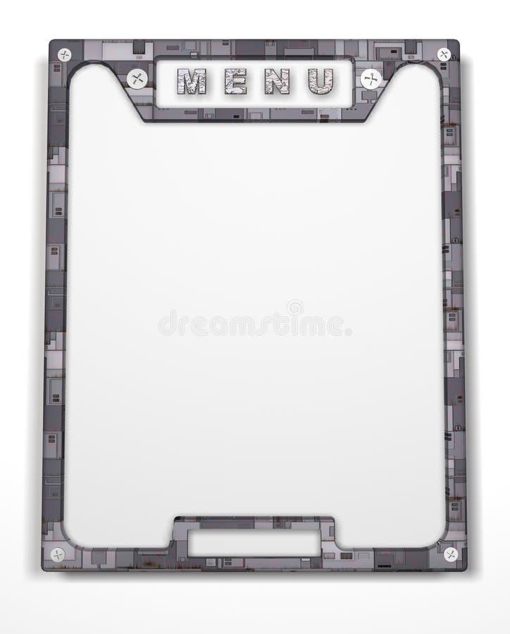 Frame. Menu. Form. Banner. 3D rendering of the menu frame royalty free stock photo