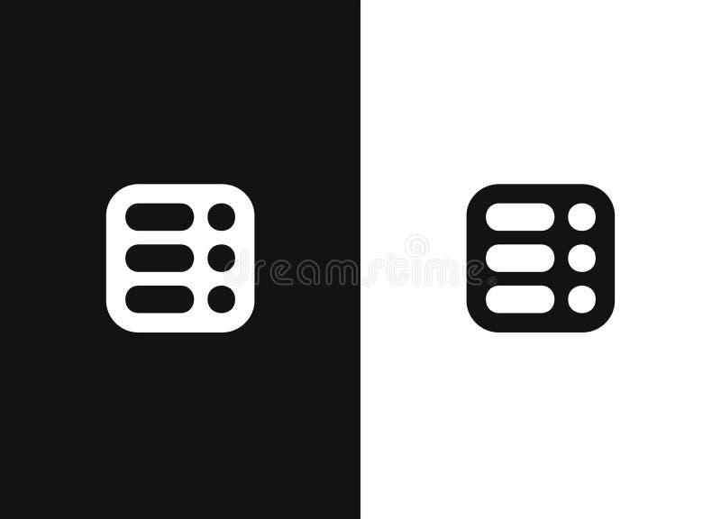 Menu, icône de liste, pictogramme dans la forme arrondie carrée illustration de vecteur