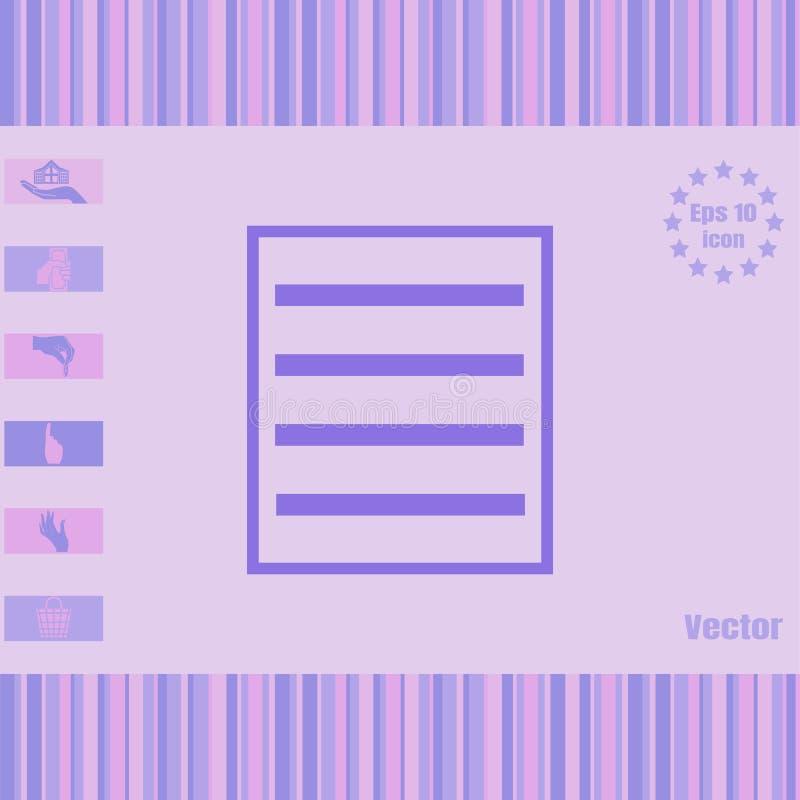 Menu, icône de vecteur de liste images stock
