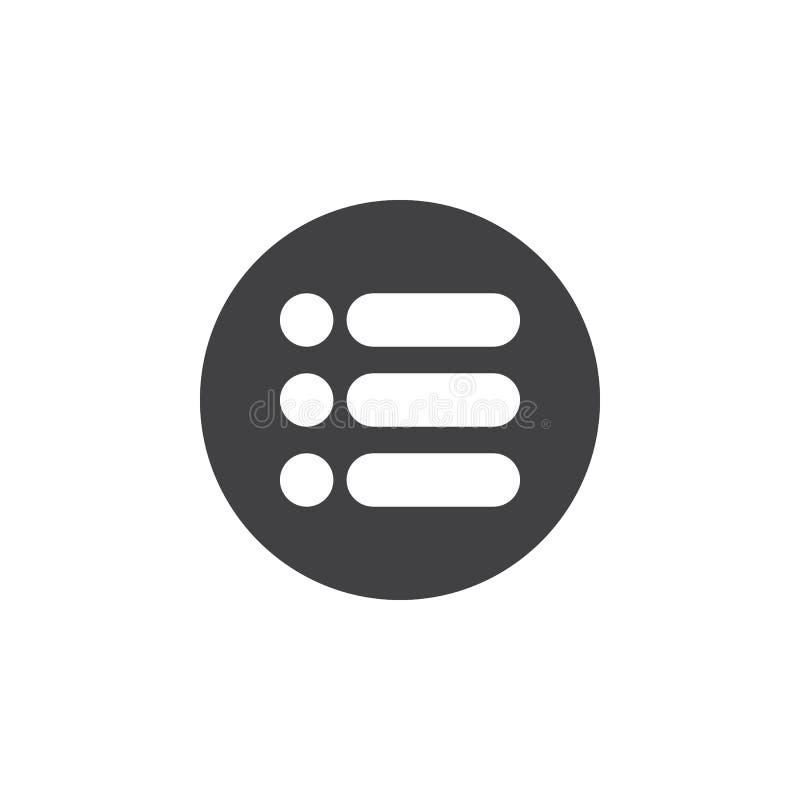 Menu, icône plate d'options Bouton simple rond, signe circulaire de vecteur illustration de vecteur