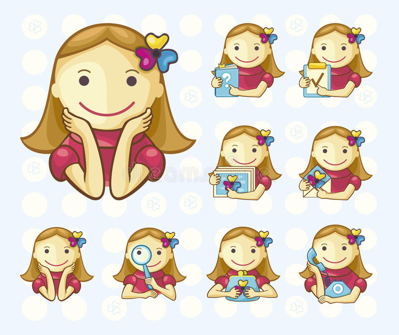 Menu icons girls only. Set of icons with girls for web menu. Background on separate layer stock illustration
