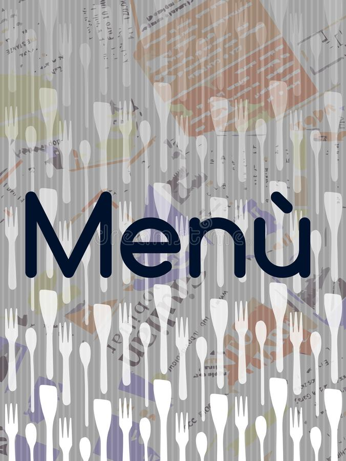 Colorful Menu cover. Image representing kitchen equipment with the word menù. an idea for menù covers royalty free illustration