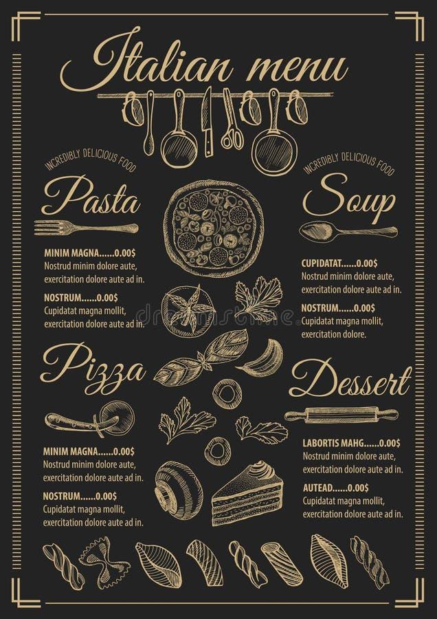 Menu Italian Restaurant, Food Template Placemat. Stock Vector ...