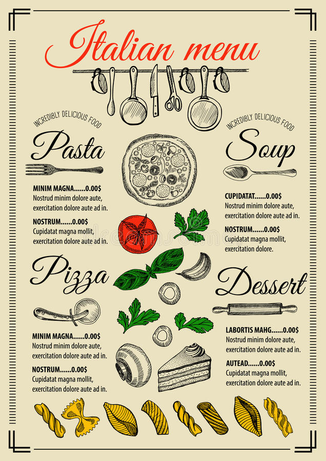 Menu italian restaurant, food template placemat. Italian menu placemat food restaurant brochure, template design. Vintage creative pizza flyer with hand-drawn royalty free illustration