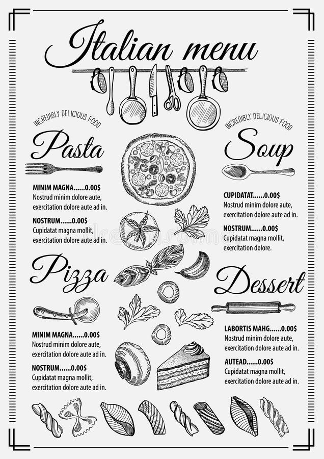Menu italian restaurant, food template placemat. Italian menu placemat food restaurant brochure, template design. Vintage creative pizza flyer with hand-drawn vector illustration