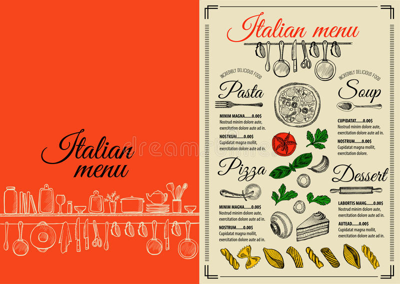 Menu italian restaurant, food template placemat. Italian menu placemat food restaurant brochure, template design. Vintage creative pizza flyer with hand-drawn stock illustration