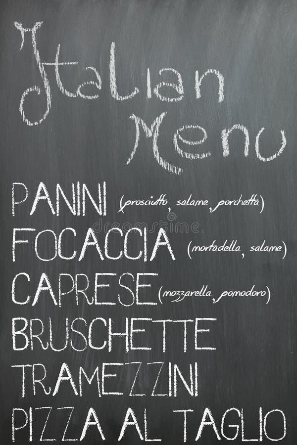 Menu italiano della barra su una lavagna immagini stock libere da diritti
