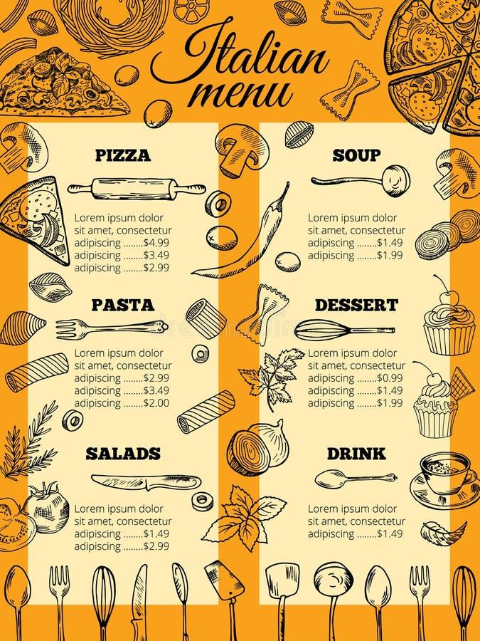 Menu italien de nourriture des pâtes et de la pizza différentes Calibre de conception pour retaurant gastronome illustration de vecteur