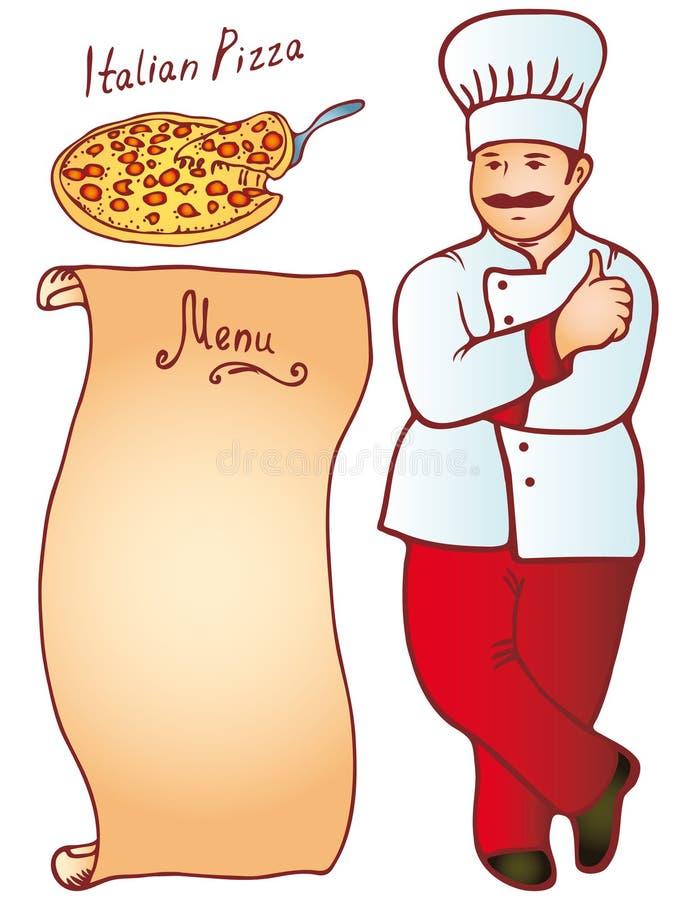 Menu italien masculin de pizza de cuisinier Vecteur illustration libre de droits