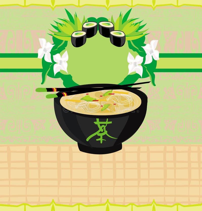 Menu japonais de nourriture carte de vintage for Poisson japonais nourriture