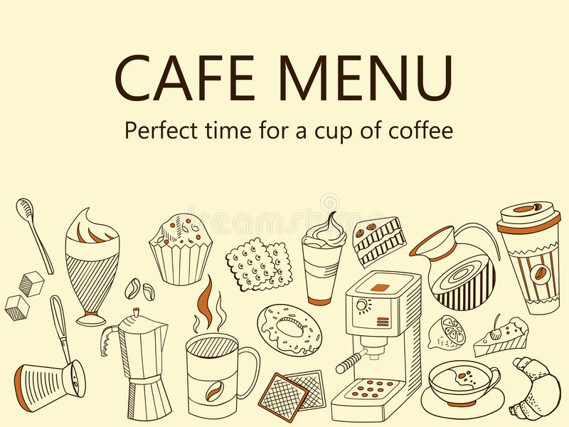 Menu kawiarnia Kawa pije sztandaru wektoru ilustrację ilustracja wektor