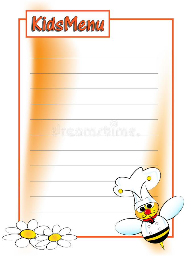 Menu for kids. Menu page for children with a bee chef vector illustration