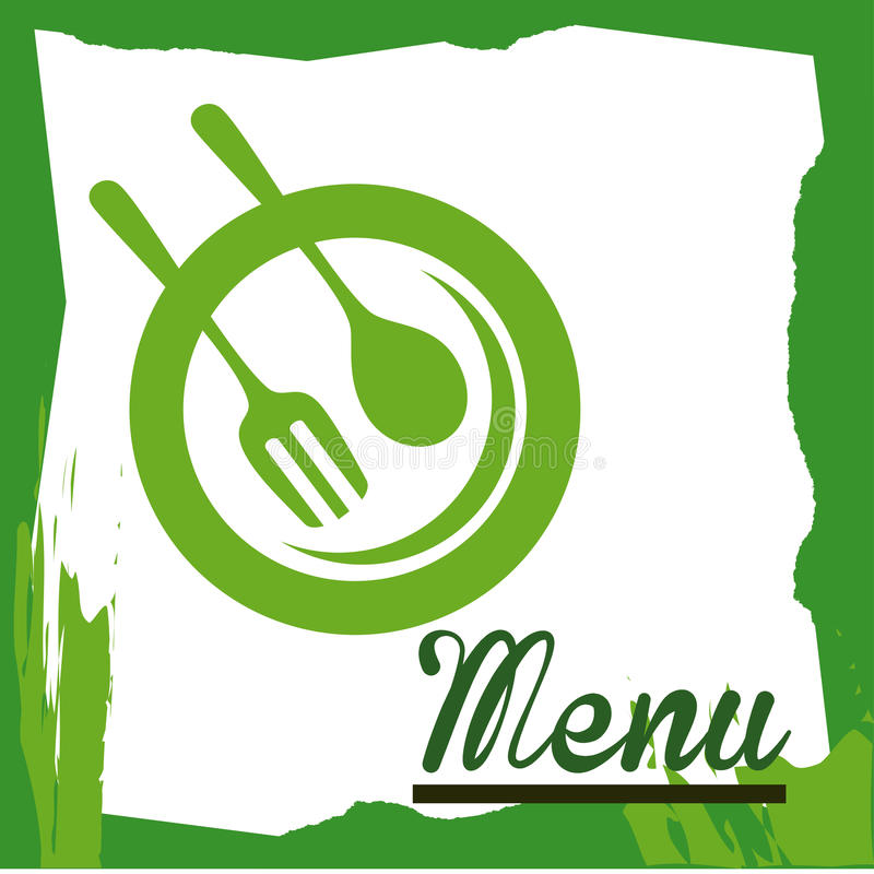 Menu label. Over green background vector illustration stock illustration