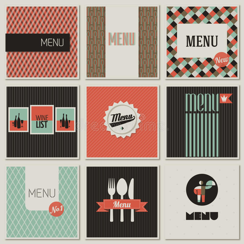 Menu label on a seamless background. vector illustration