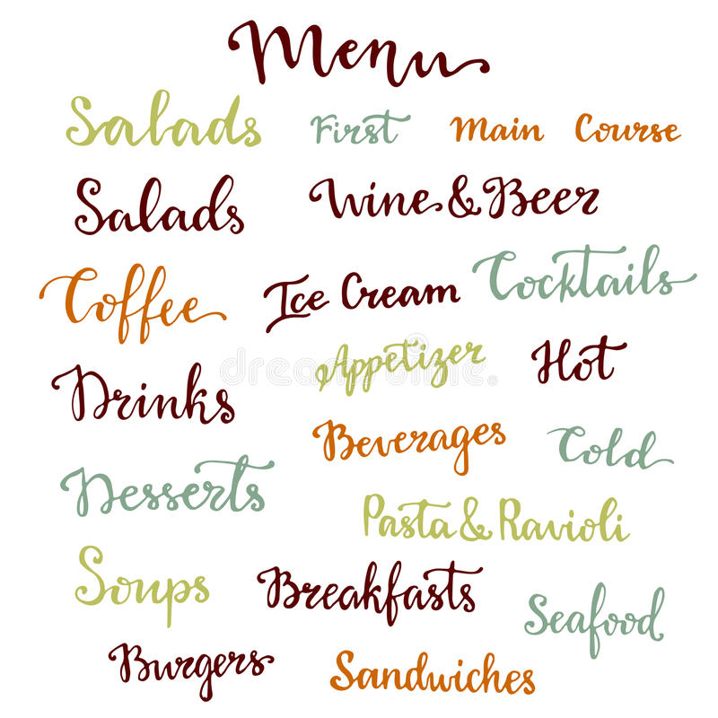 Menu lettering set. Desserts, starters, drinks, breakfasts, cocktails and other words collection. Vector calligraphy. Menu lettering set. Desserts and other royalty free illustration