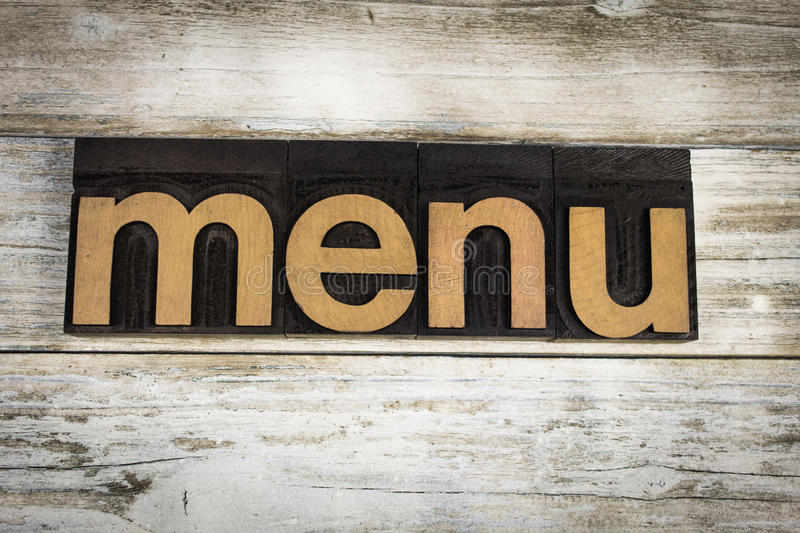 Menu Letterpress Word on Wooden Background stock photos