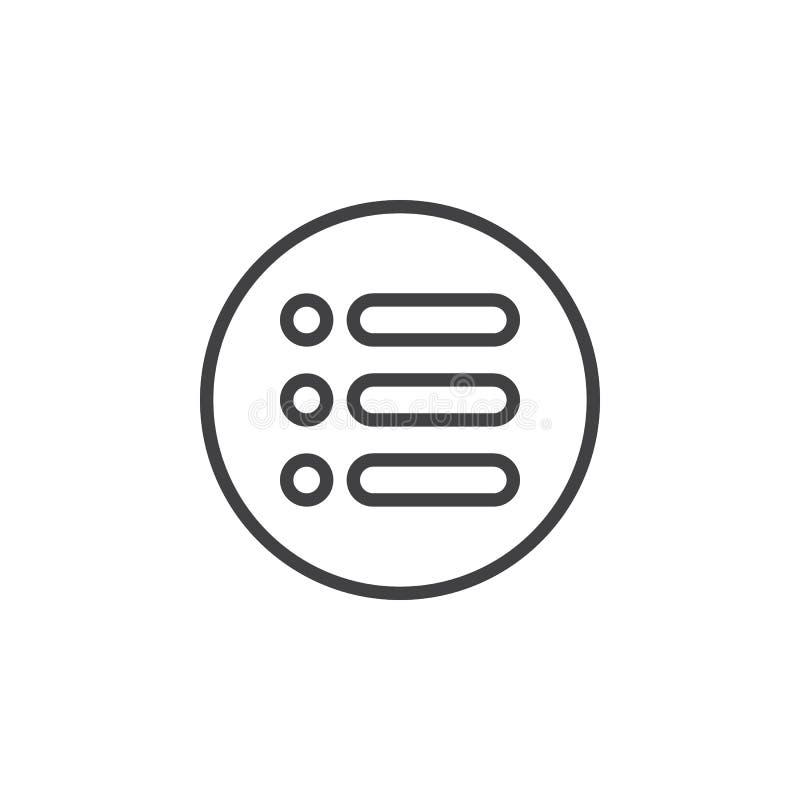 Menu, ligne circulaire icône d'options Signe simple rond illustration libre de droits