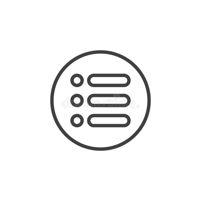 Menu, ligne circulaire icône d'options Signe simple rond illustration stock