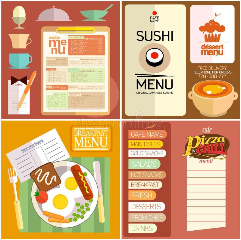 Menu liso do restaurante do projeto, elementos da Web, ícones ilustração stock