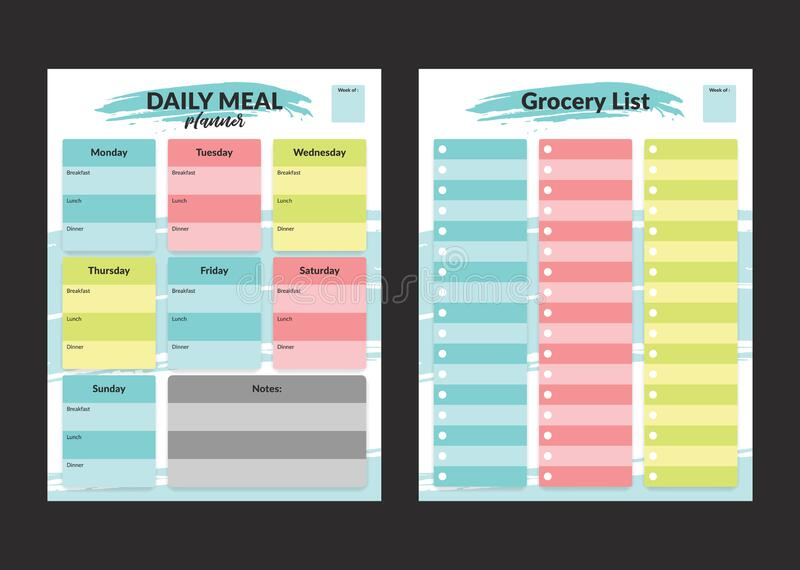 Menu meal planner and grocery shopping list weekly template for print in pastel colorful style stock illustration