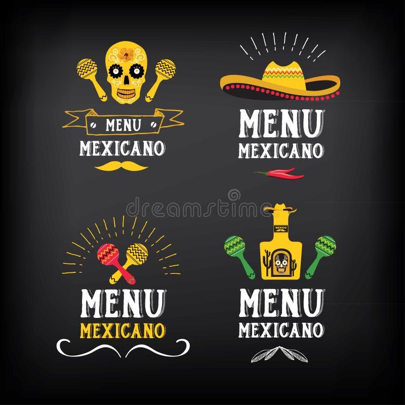 Menu meksykański logo i odznaka projekt Wektor z grafiką royalty ilustracja