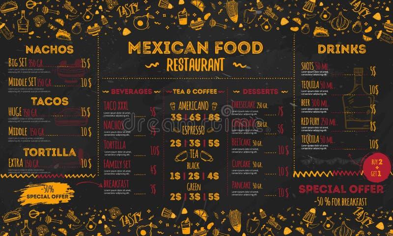 Menu messicano del ristorante dell'alimento, progettazione del modello aletta di filatoio per la promozione, insegna del sito illustrazione vettoriale