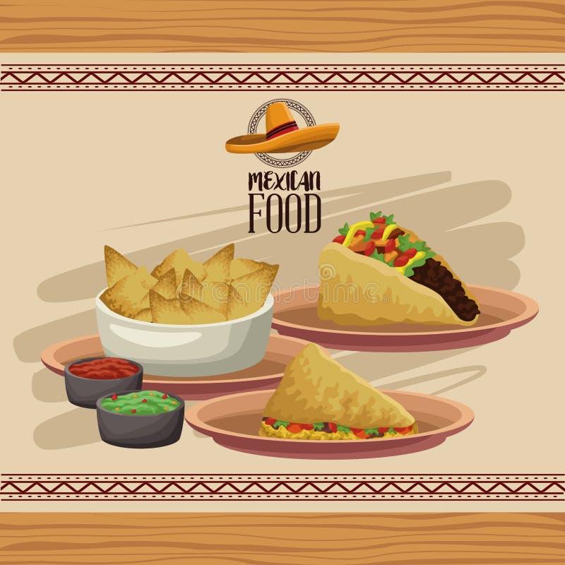 Menu mexicain de nourriture illustration stock
