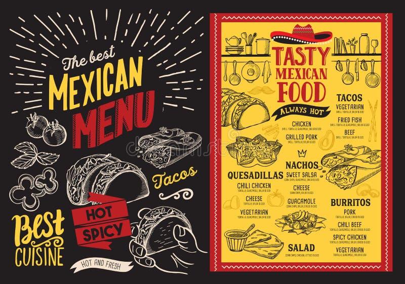 Menu mexicain de restaurant sur le fond de tableau noir Nourriture la Floride de vecteur illustration stock