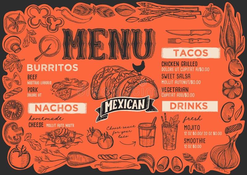 Menu mexicain pour le restaurant avec le cadre des légumes graphiques illustration stock