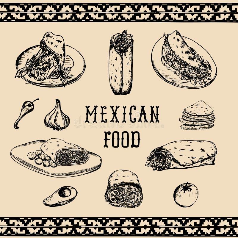 Menu mexicano do alimento no vetor Burritos, nachos, ilustrações dos tacos Snack bar do moderno, ícones do restaurante de comida  ilustração royalty free